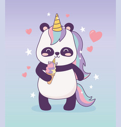 Panda with unicorn ice cream cartoon character vector