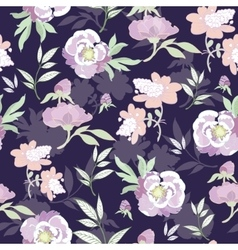 Pastel Kimono Flowers on Black Seamless vector image