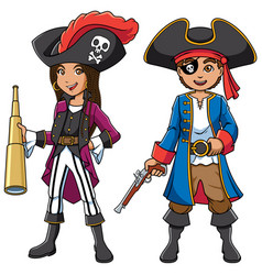 Pirate kids cartoon vector