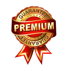 Premium guarantee golden label with ribbon vector
