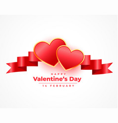 Realistic valentines day 3d hearts and ribbon card vector