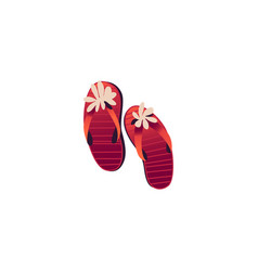Red women sleepers decorated with flowers isolated vector
