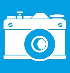 Retro camera icon white vector
