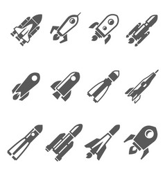 rockets bold black silhouette icons set isolated vector image