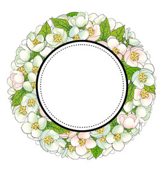 Round frame of cherry blossom branches vector