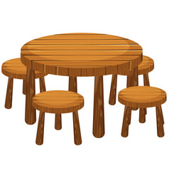 Round table and chairs vector
