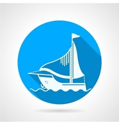 Sea yacht round icon vector image