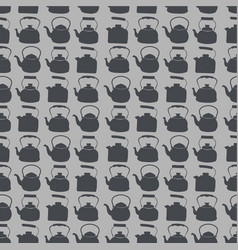 Seamless grey pattern with kettle vector