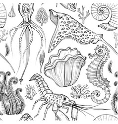 seamless pattern with hand drawn deepwater living vector image