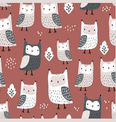 seamless pattern with owls and leaves creative vector image