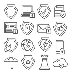 secure and shield line icons on white background vector image