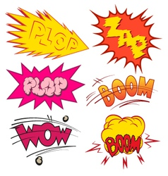 Set comic book explosion vector image
