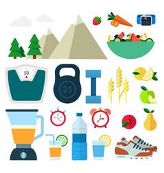 set healthy food icons flat vector image