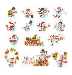 set of cute cartoon snowmen vector image