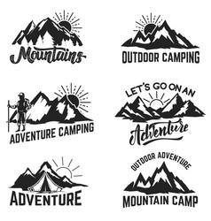 Set of mountains adventure outdoor camping vector
