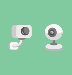 Set security camera cctv cartoon vector