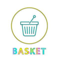 shopping basket icon linear outline style vector image