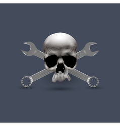 Skull human with spanners vector