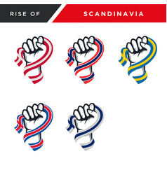 Spirit rising fist hand scandinavia flag s vector