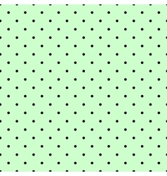 Tile spring pattern with black polka dots on green vector image