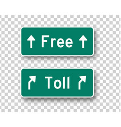 Toll and free road signs isolated design vector