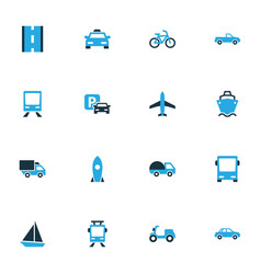 Transport colorful icons set collection of vector