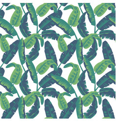 Tropical leaves seamless pattern palm tree vector