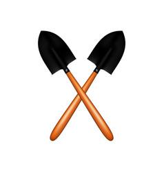 Two crossed garden shovels vector
