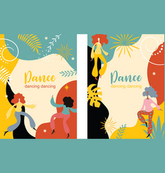 vertical banners with dancing women vector image