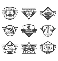 Vintage monochrome military labels set vector