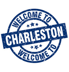 Welcome to charleston blue stamp vector