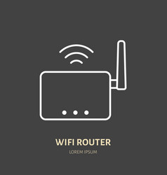 wifi router flat line icon wireless technology vector image vector image