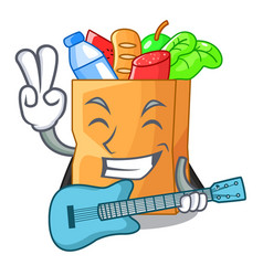 With guitar realistic food in a bag character vector