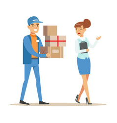 woman showing the way for delivery service worker vector image