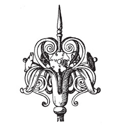 wrought-iron finial custom vintage engraving vector image