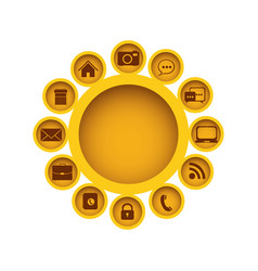 Yellow figure group with communication elements vector