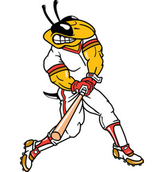 Yellow jacket sports logo mascot baseball vector