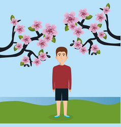 Young man in the landscape character scene vector