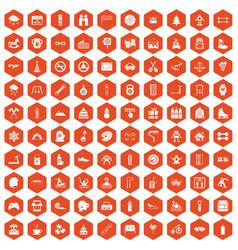 100 children activities icons hexagon orange vector