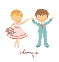 Cute wedding couple vector image vector image