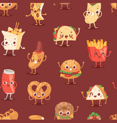 fast food smile cartoon expression vector image
