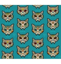 Sugar skull cats pattern Mexican day of the dead vector image