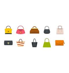woman bag icon set flat style vector image