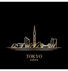 Gold silhouette of Tokyo on black background vector image vector image
