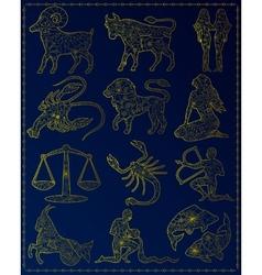 Golden zodiac signs vector image vector image