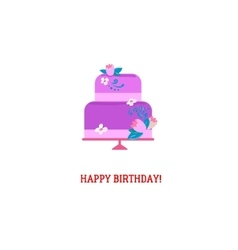 Purple Birthday cake vector image
