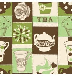 retro tea seamless pattern vector image vector image