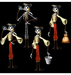 Set of five pirates skeletons with different items vector image vector image