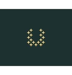 Stars letter u logotype luxury abc icon vector