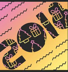 2018 card greeting tree gift box decoration image vector image